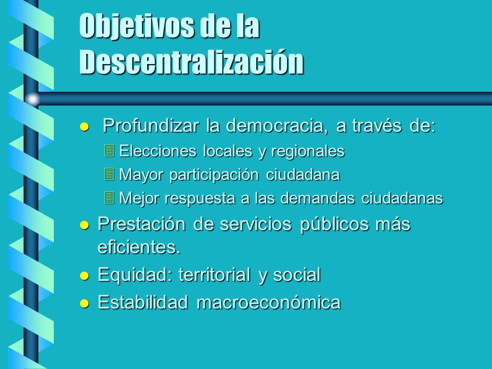 Objetivos de la Descentralización Profundizar la democracia, a través de: Profundizar la democracia, a través de: Elecciones locales y regionales Elec