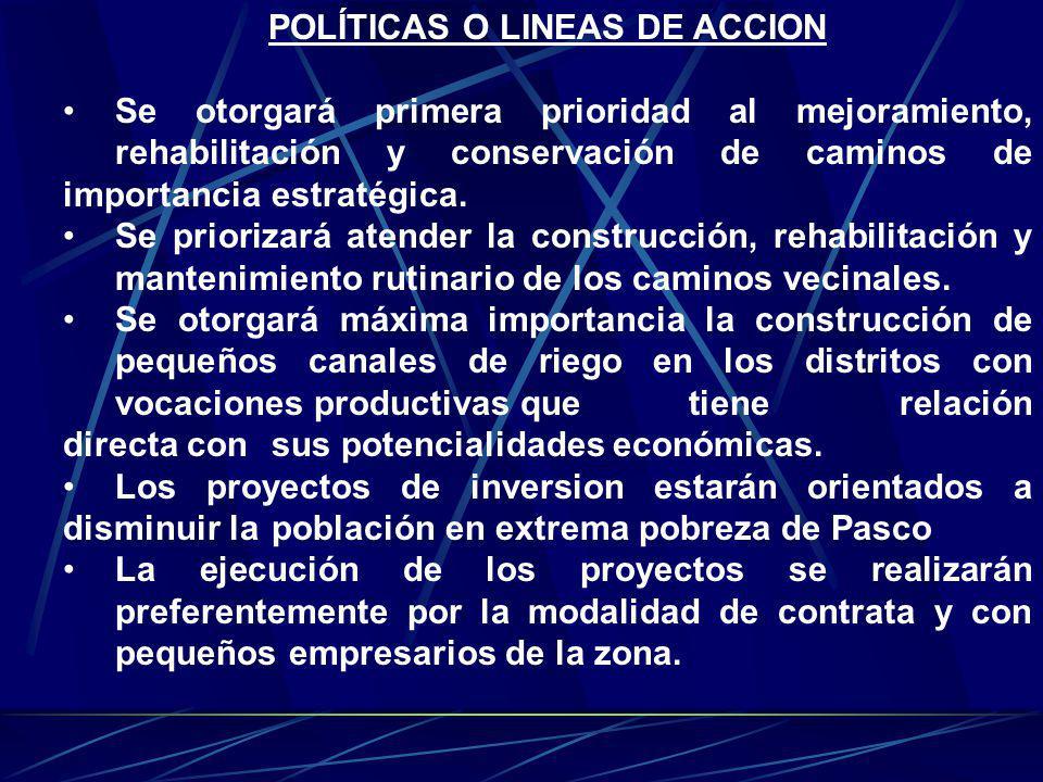 POLÍTICAS O LINEAS DE ACCION Se otorgará primera prioridad al mejoramiento, rehabilitación y conservación de caminos de importancia estratégica. Se pr