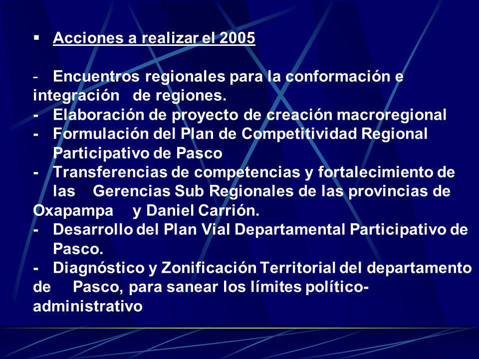 Acciones a realizar el 2005 -Encuentros regionales para la conformación e integración de regiones. -Elaboración de proyecto de creación macroregional