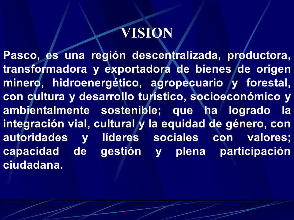Pasco, es una región descentralizada, productora, transformadora y exportadora de bienes de origen minero, hidroenergético, agropecuario y forestal, c