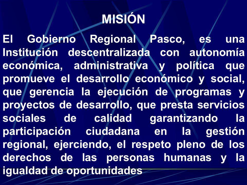 El Gobierno Regional Pasco, es una Institución descentralizada con autonomía económica, administrativa y política que promueve el desarrollo económico
