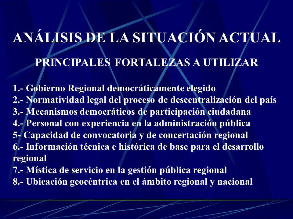 ANÁLISIS DE LA SITUACIÓN ACTUAL PRINCIPALES FORTALEZAS A UTILIZAR 1.- Gobierno Regional democráticamente elegido 2.- Normatividad legal del proceso de