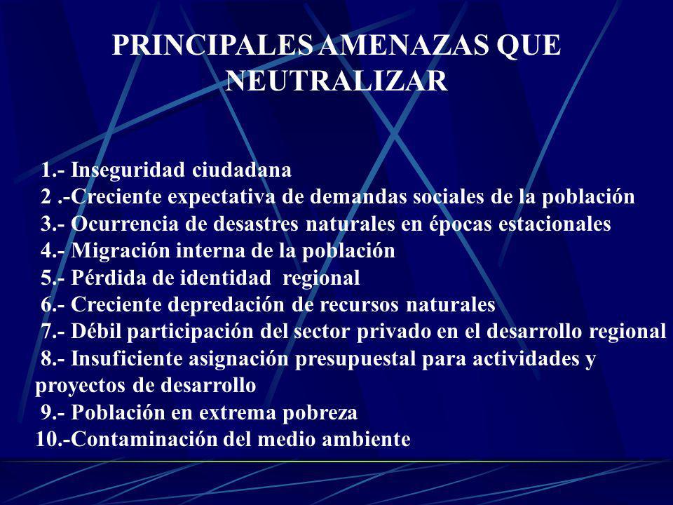 PRINCIPALES AMENAZAS QUE NEUTRALIZAR 1.- Inseguridad ciudadana 2.-Creciente expectativa de demandas sociales de la población 3.- Ocurrencia de desastr