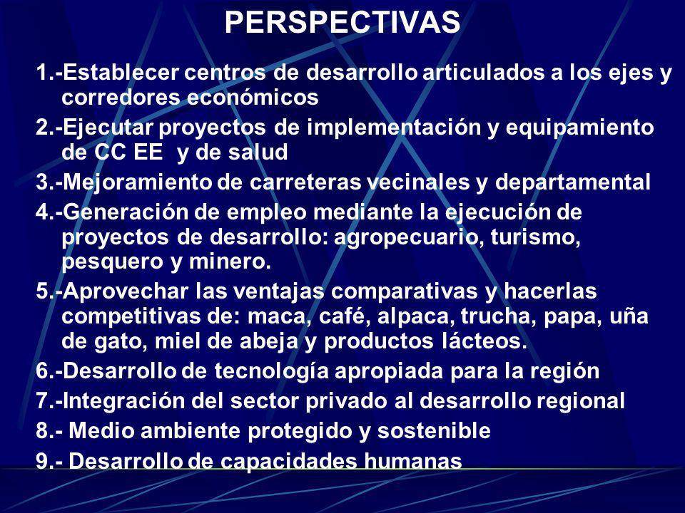 PERSPECTIVAS 1.-Establecer centros de desarrollo articulados a los ejes y corredores económicos 2.-Ejecutar proyectos de implementación y equipamiento