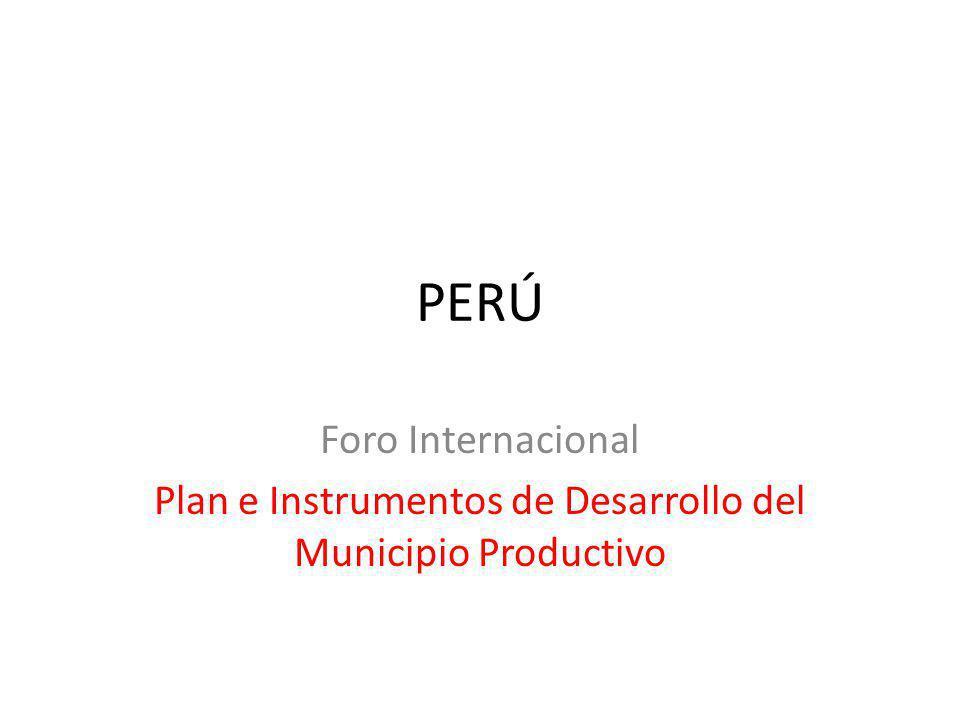 PERÚ Foro Internacional Plan e Instrumentos de Desarrollo del Municipio Productivo