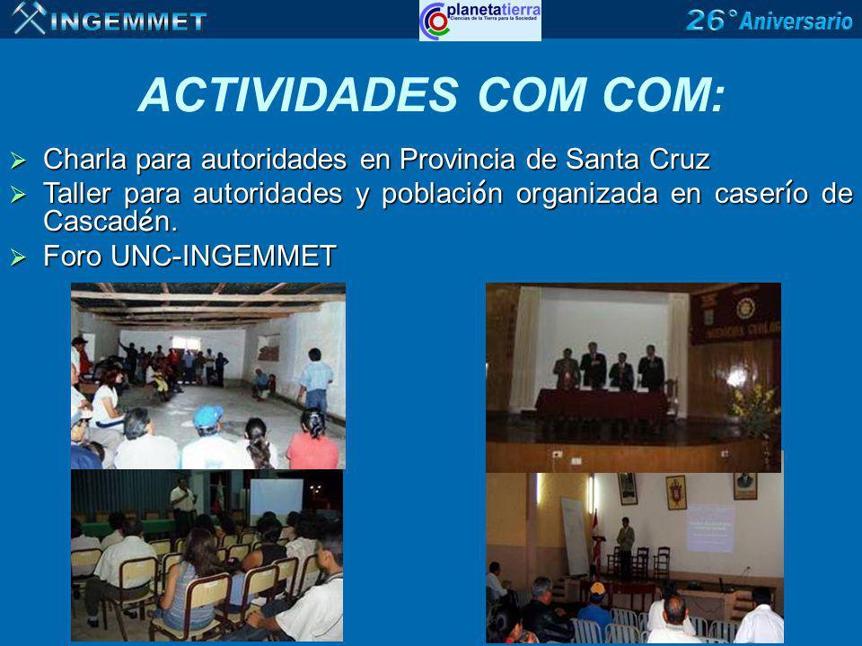 Charla para autoridades en Provincia de Santa Cruz Charla para autoridades en Provincia de Santa Cruz Taller para autoridades y poblaci ó n organizada