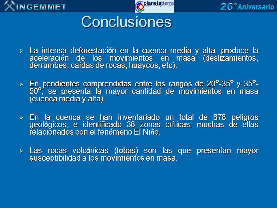 Conclusiones La intensa deforestaci ó n en la cuenca media y alta, produce la aceleraci ó n de los movimientos en masa (deslizamientos, derrumbes, ca