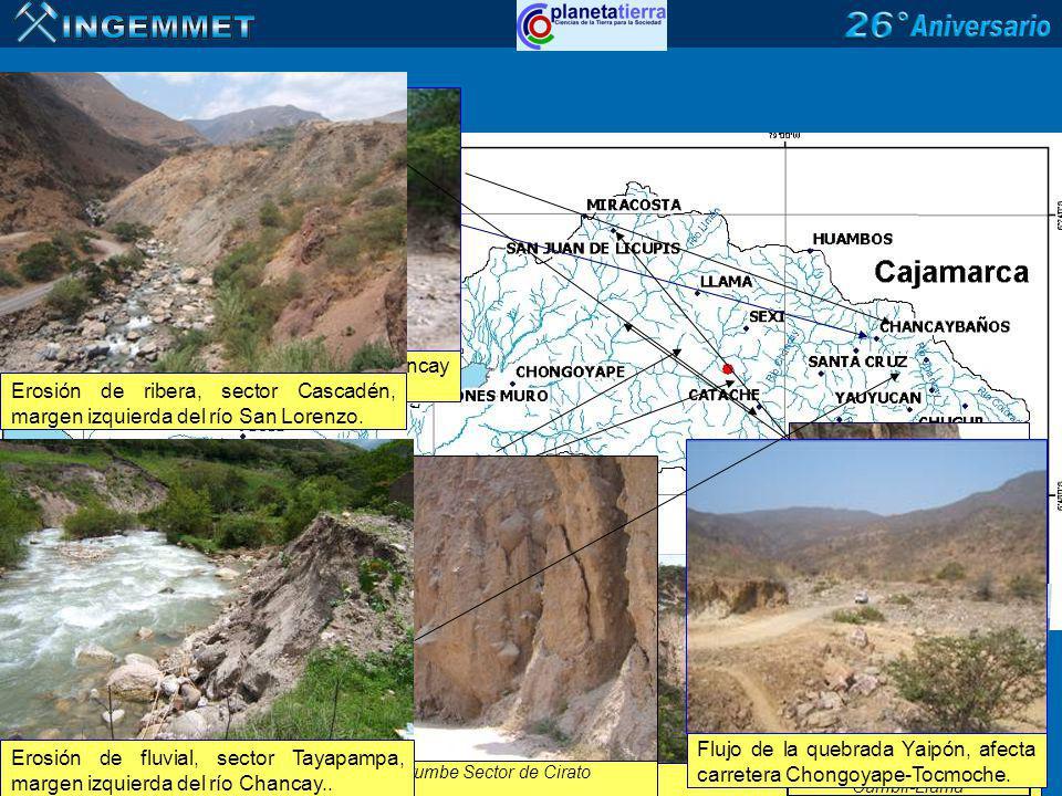 Deslizamiento de Baños Deslizamiento de Miraflores Derrumbe Carretera Cumbil-Llama Derrumbe Sector de Cirato Flujo de la quebrada Yaipón, afecta carre