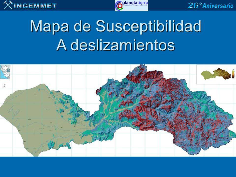 Mapa de Susceptibilidad A deslizamientos