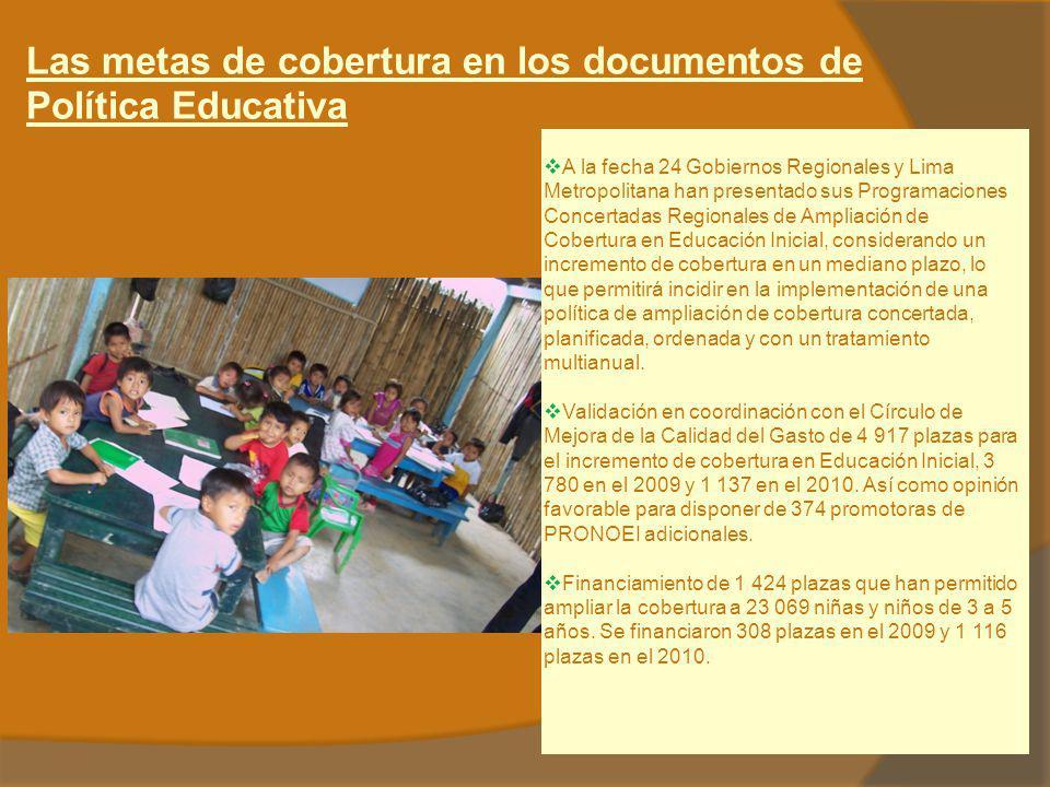 Las metas de cobertura en los documentos de Política Educativa A la fecha 24 Gobiernos Regionales y Lima Metropolitana han presentado sus Programacion