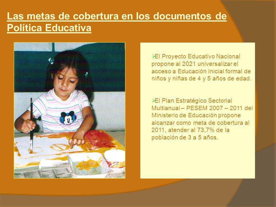 Las metas de cobertura en los documentos de Política Educativa El Proyecto Educativo Nacional propone al 2021 universalizar el acceso a Educación Inic