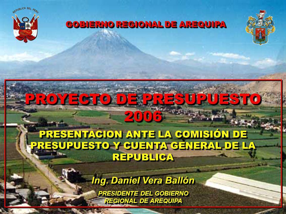 PROYECTO DE PRESUPUESTO 2006 PRESENTACION ANTE LA COMISIÓN DE PRESUPUESTO Y CUENTA GENERAL DE LA REPUBLICA Ing.
