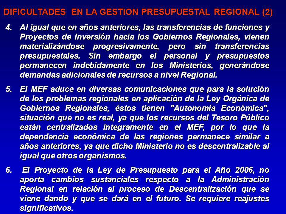 4.Al igual que en años anteriores, las transferencias de funciones y Proyectos de Inversión hacia los Gobiernos Regionales, vienen materializándose progresivamente, pero sin transferencias presupuestales.