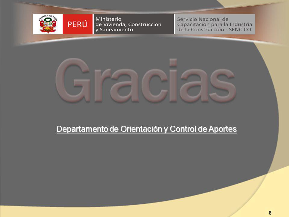 Departamento de Orientación y Control de Aportes 8