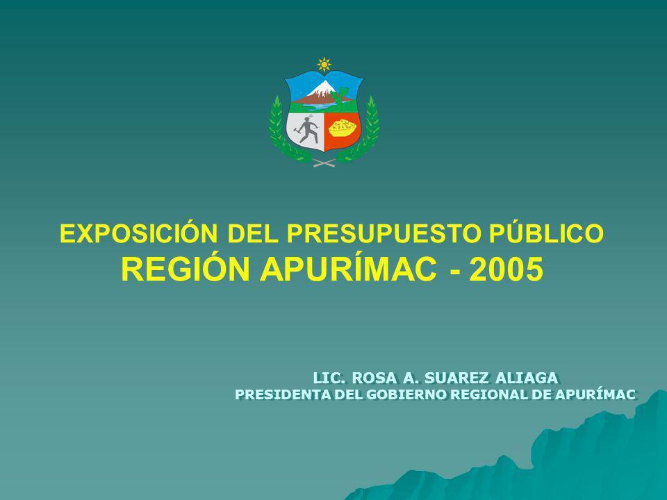 EXPOSICIÓN DEL PRESUPUESTO PÚBLICO REGIÓN APURÍMAC - 2005 LIC.