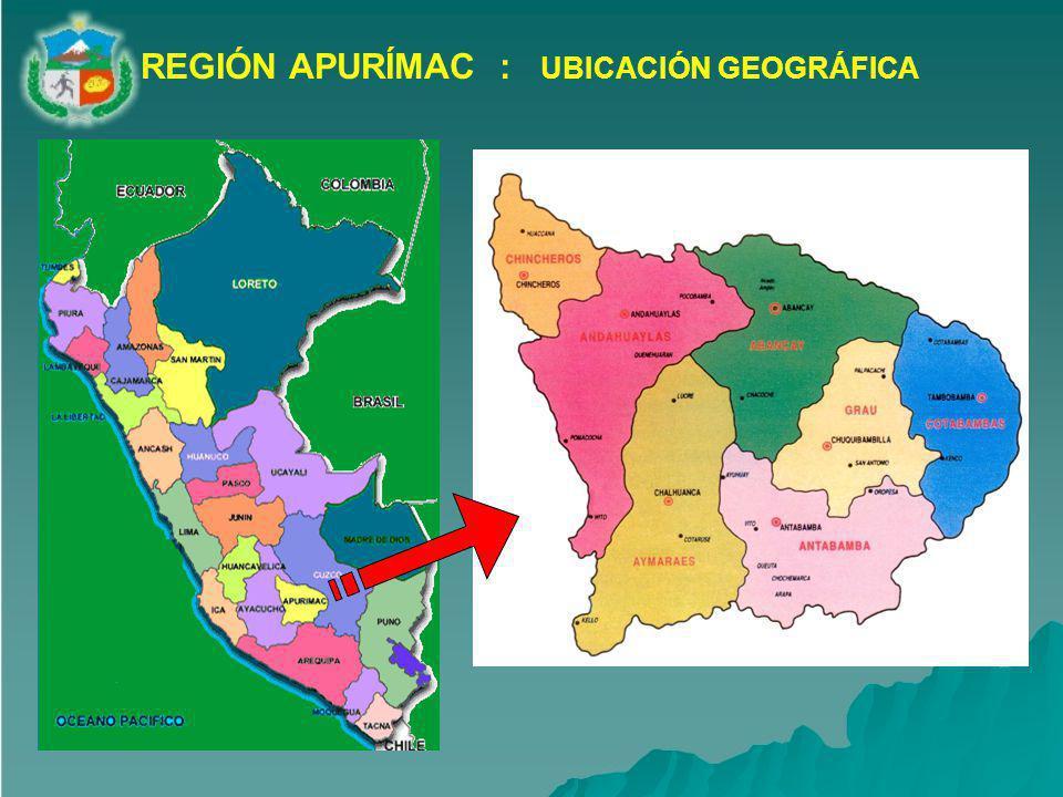 La Región Apurímac se encuentra ubicada en la parte sur-oriental del territorio peruano, en el denominado trapecio andino por sus altos niveles de pobreza y marginalidad.