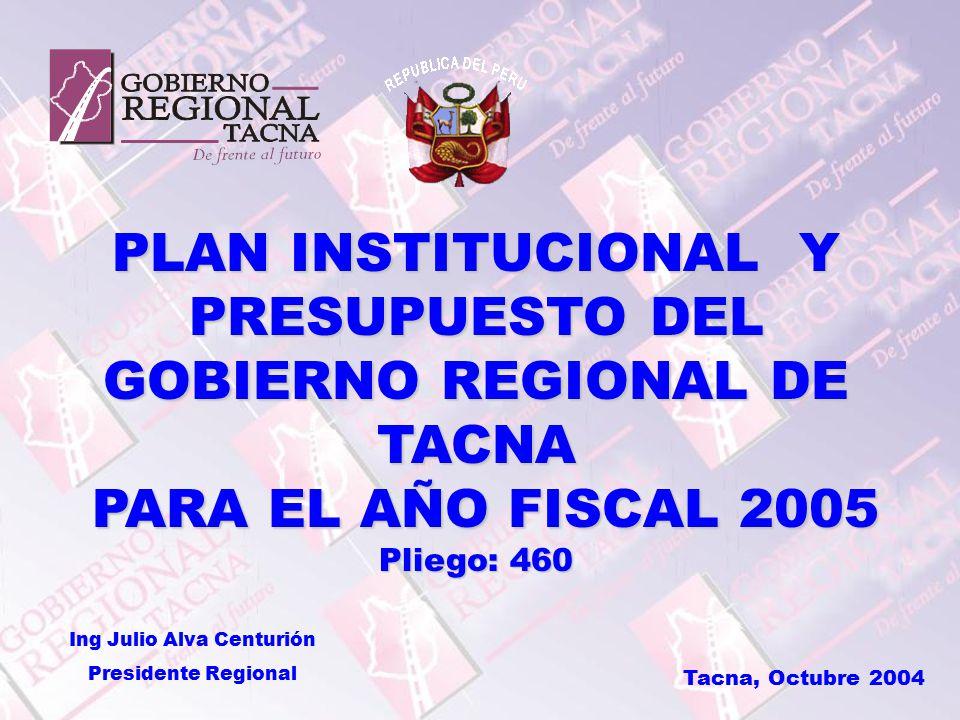 PLAN INSTITUCIONAL Y PRESUPUESTO DEL GOBIERNO REGIONAL DE TACNA PARA EL AÑO FISCAL 2005 PARA EL AÑO FISCAL 2005 Pliego: 460 Tacna, Octubre 2004 Ing Julio Alva Centurión Presidente Regional