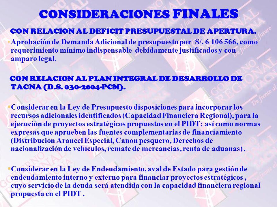 CONSIDERACIONES FINALES CON RELACION AL DEFICIT PRESUPUESTAL DE APERTURA.