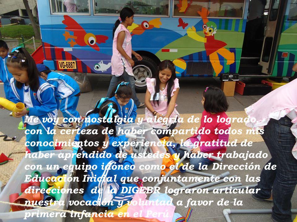 Me voy con nostalgia y alegría de lo logrado, con la certeza de haber compartido todos mis conocimientos y experiencia, la gratitud de haber aprendido de ustedes y haber trabajado con un equipo idóneo como el de la Dirección de Educación Inicial que conjuntamente con las direcciones de la DIGEBR lograron articular nuestra vocación y voluntad a favor de la primera infancia en el Perú.