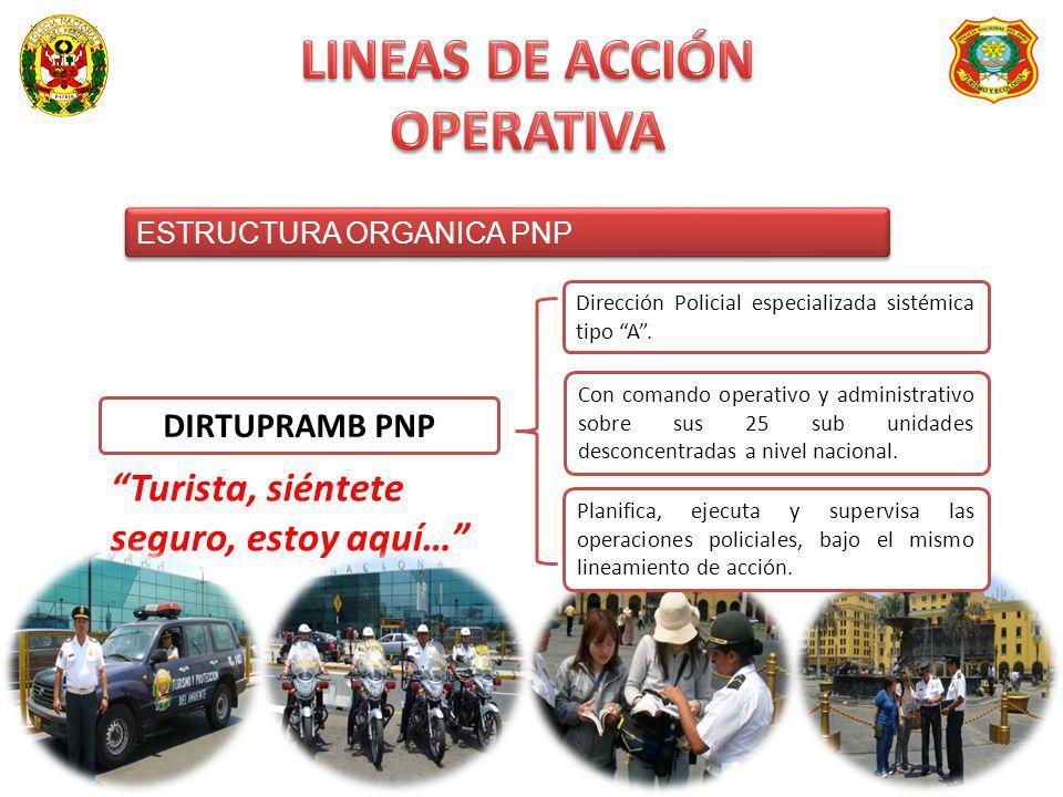 ESTRUCTURA ORGANICA PNP ESTRUCTURA ORGANICA PNP DIRTUPRAMB PNP Dirección Policial especializada sistémica tipo A. Con comando operativo y administrati