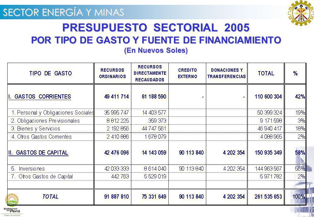 SECTOR ENERGÍA Y MINAS PRESUPUESTO SECTORIAL 2005 POR TIPO DE GASTO Y FUENTE DE FINANCIAMIENTO (En Nuevos Soles)