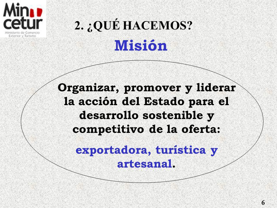 Visión Compartida Perú, país exportador de una oferta de bienes y servicios competitiva, diversificada y con valor agregado; y destino turístico seguro, competitivo y confiable.