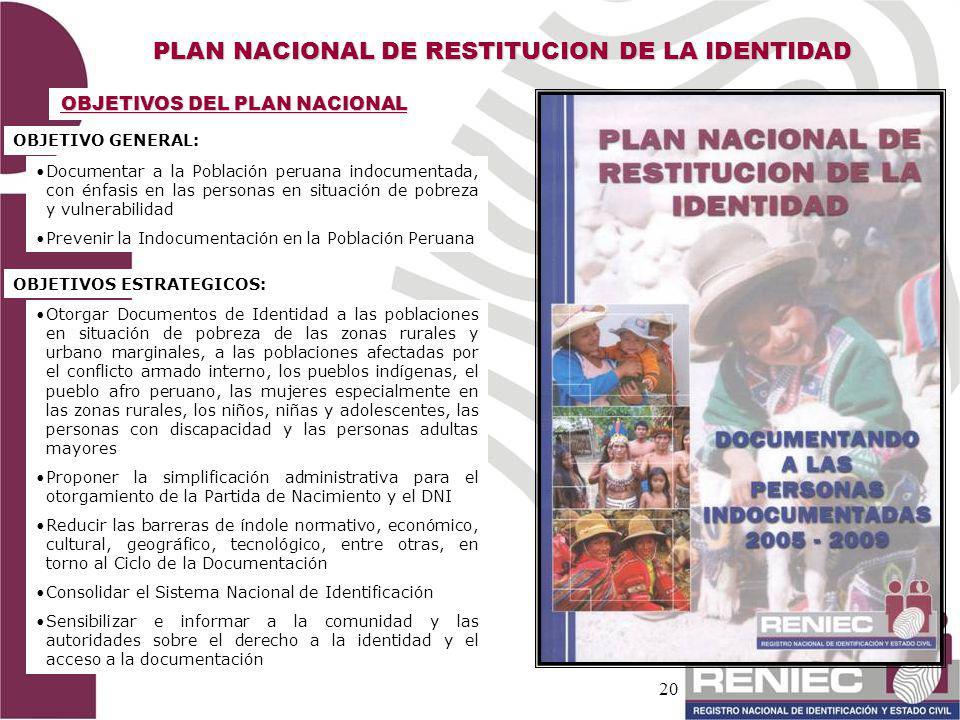 20 PLAN NACIONAL DE RESTITUCION DE LA IDENTIDAD OBJETIVOS DEL PLAN NACIONAL OBJETIVO GENERAL: Documentar a la Población peruana indocumentada, con énf
