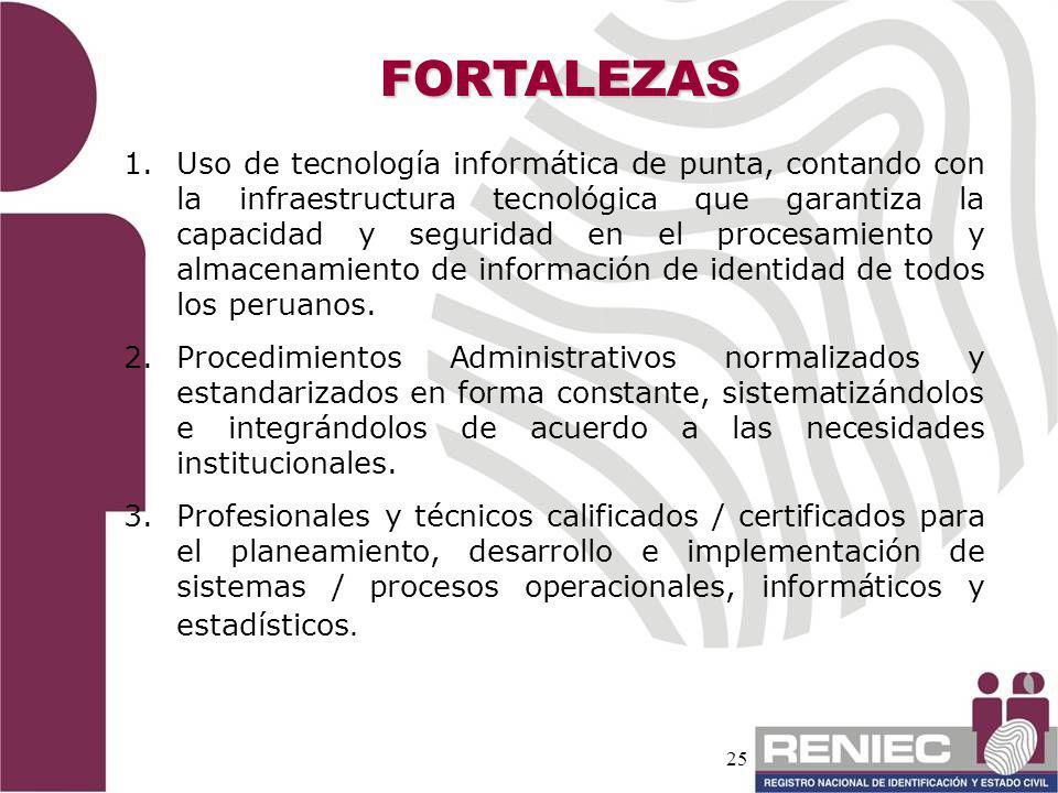 25 FORTALEZAS 1. 1.Uso de tecnología informática de punta, contando con la infraestructura tecnológica que garantiza la capacidad y seguridad en el pr