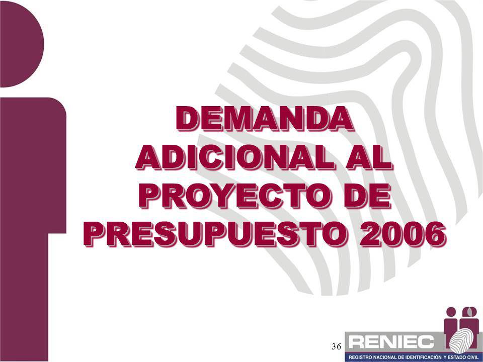 36 DEMANDA ADICIONAL AL PROYECTO DE PRESUPUESTO 2006