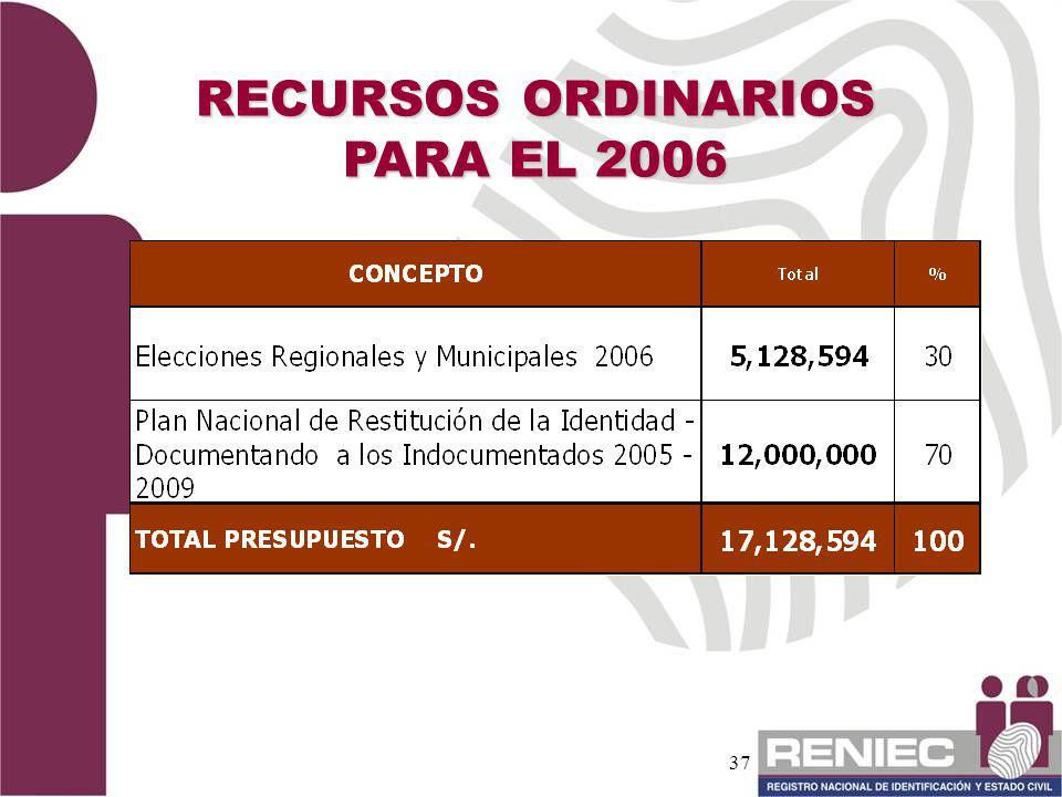 37 RECURSOS ORDINARIOS PARA EL 2006