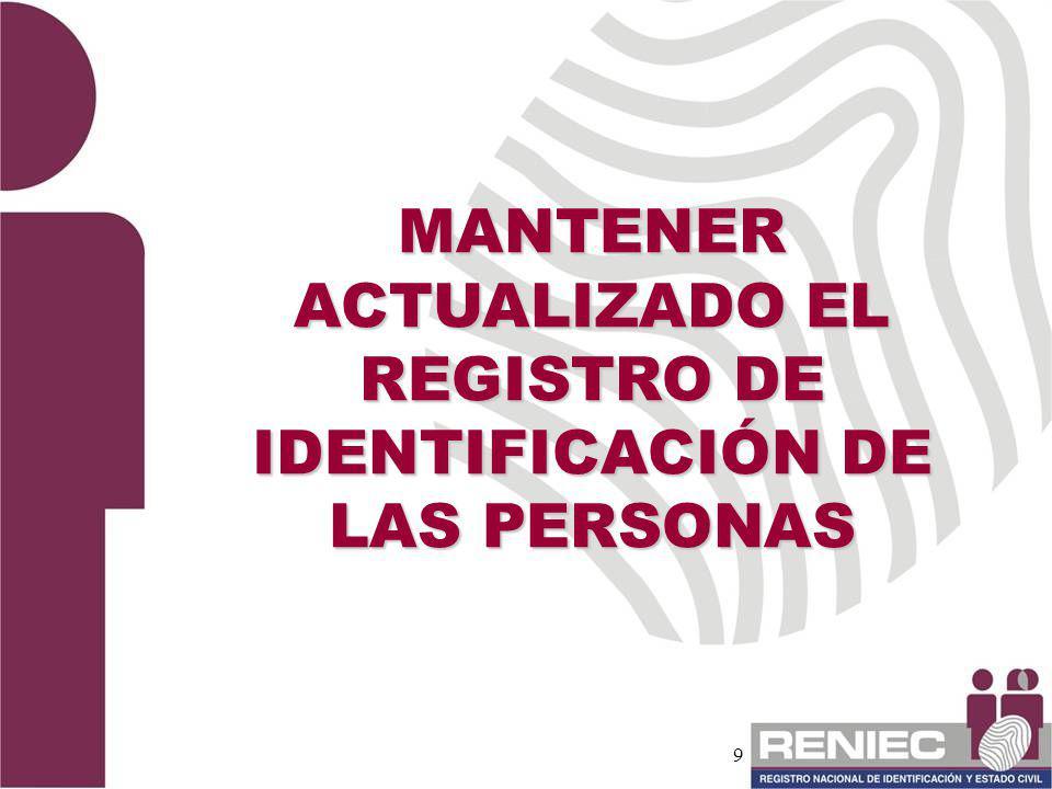 9 MANTENER ACTUALIZADO EL REGISTRO DE IDENTIFICACIÓN DE LAS PERSONAS