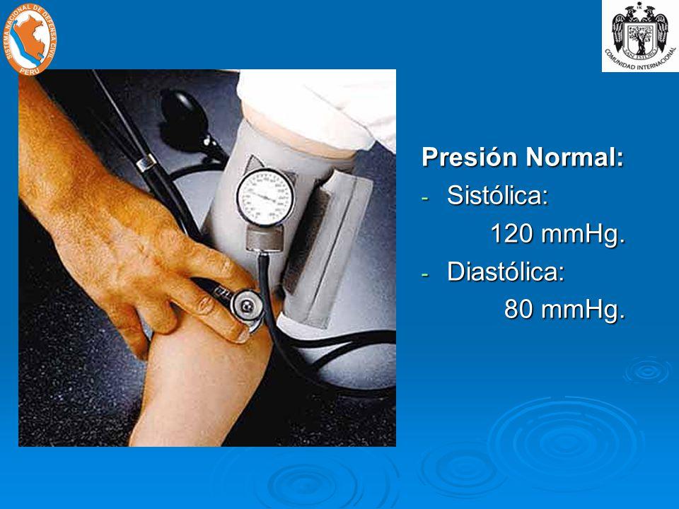 Presión Normal: - Sistólica: 120 mmHg. - Diastólica: 80 mmHg. 80 mmHg.