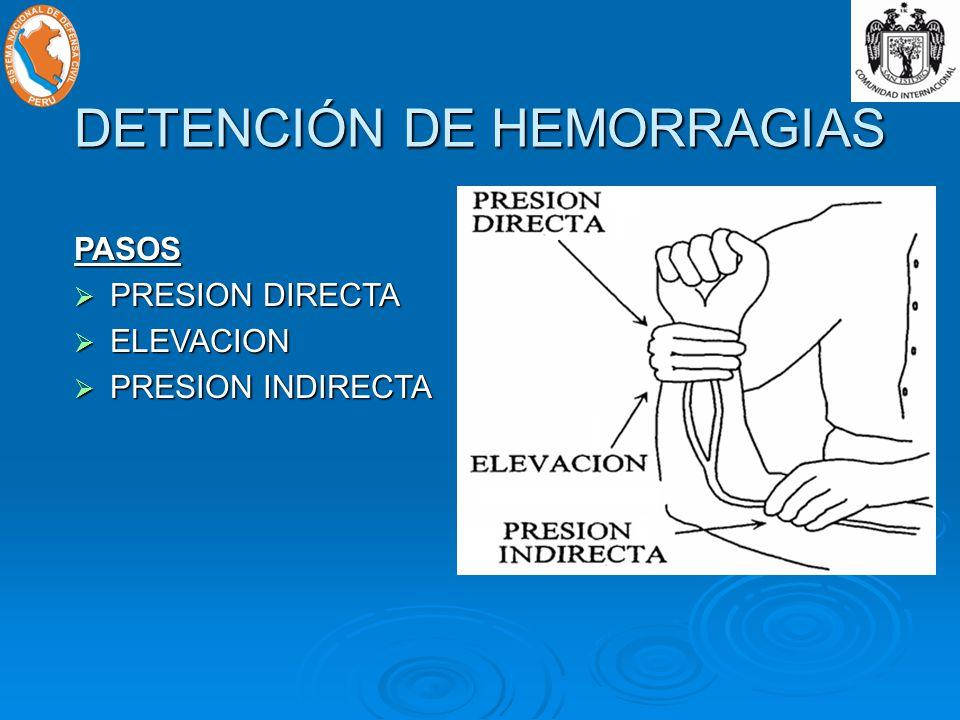 DETENCIÓN DE HEMORRAGIAS PASOS PRESION DIRECTA PRESION DIRECTA ELEVACION ELEVACION PRESION INDIRECTA PRESION INDIRECTA
