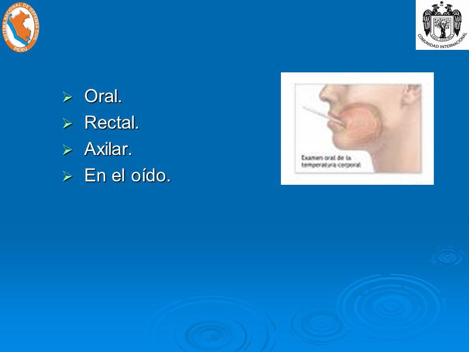 Oral. Oral. Rectal. Rectal. Axilar. Axilar. En el oído. En el oído.