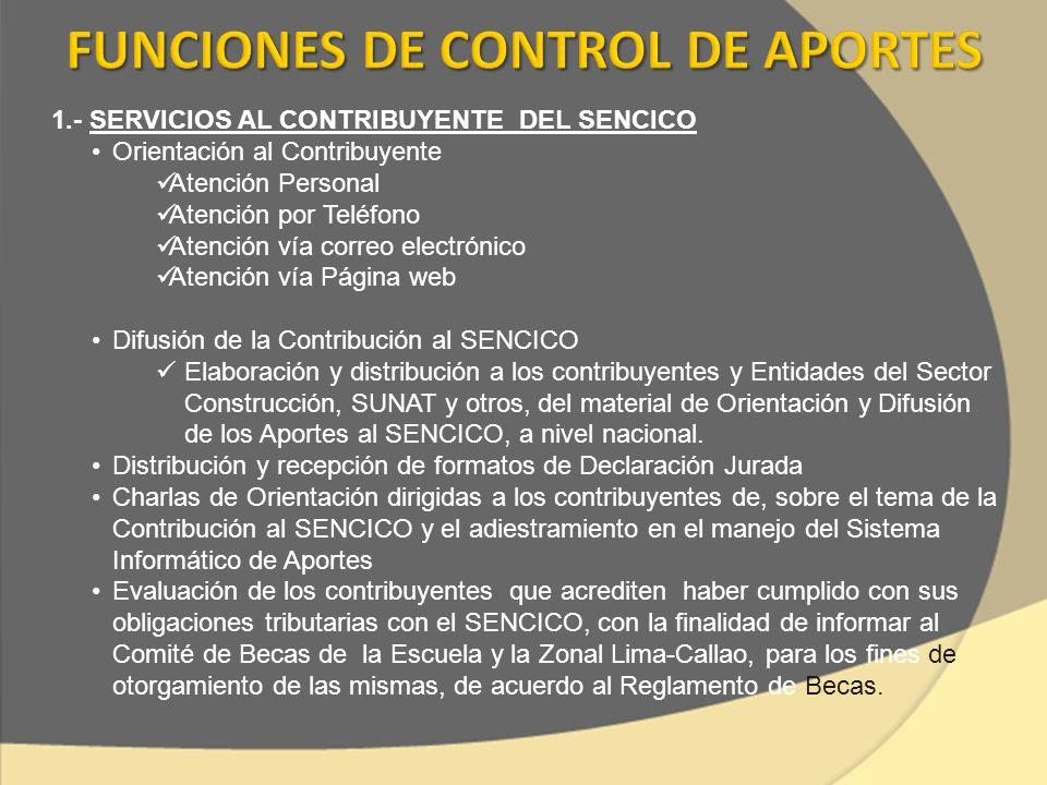 1.- SERVICIOS AL CONTRIBUYENTE DEL SENCICO Orientación al Contribuyente Atención Personal Atención por Teléfono Atención vía correo electrónico Atenci