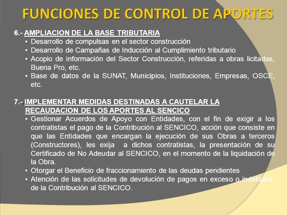 6.- AMPLIACION DE LA BASE TRIBUTARIA Desarrollo de compulsas en el sector construcción Desarrollo de Campañas de Inducción al Cumplimiento tributario