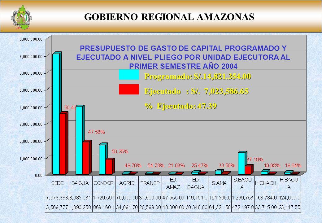 GOBIERNO REGIONAL AMAZONAS PRESUPUESTO DE GASTO DE CAPITAL PROGRAMADO Y EJECUTADO A NIVEL PLIEGO POR UNIDAD EJECUTORA AL PRIMER SEMESTRE AÑO 2004 Programado: S/.14,821.354.00 Ejecutado : S/.