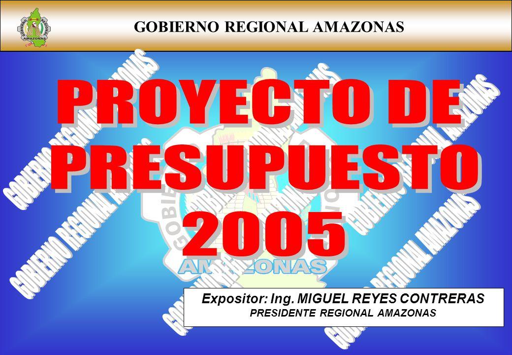 Expositor: Ing. MIGUEL REYES CONTRERAS PRESIDENTE REGIONAL AMAZONAS
