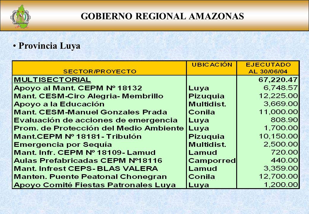 GOBIERNO REGIONAL AMAZONAS Provincia Luya Provincia Luya