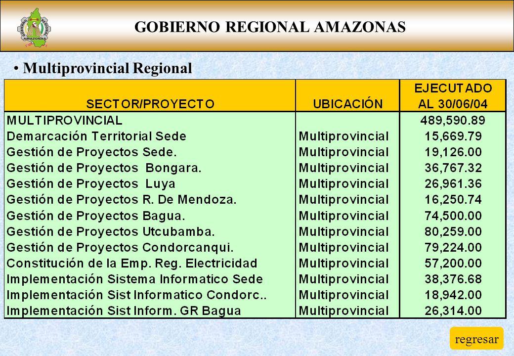 GOBIERNO REGIONAL AMAZONAS Multiprovincial Regional Multiprovincial Regional regresar