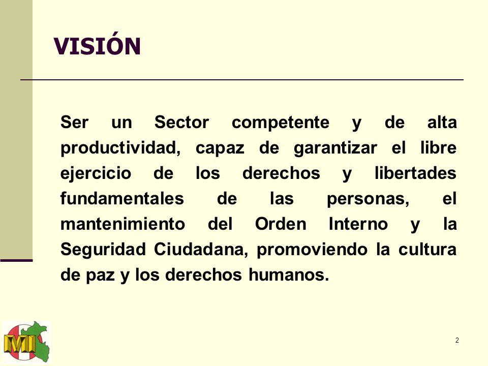 2 VISIÓN Ser un Sector competente y de alta productividad, capaz de garantizar el libre ejercicio de los derechos y libertades fundamentales de las personas, el mantenimiento del Orden Interno y la Seguridad Ciudadana, promoviendo la cultura de paz y los derechos humanos.