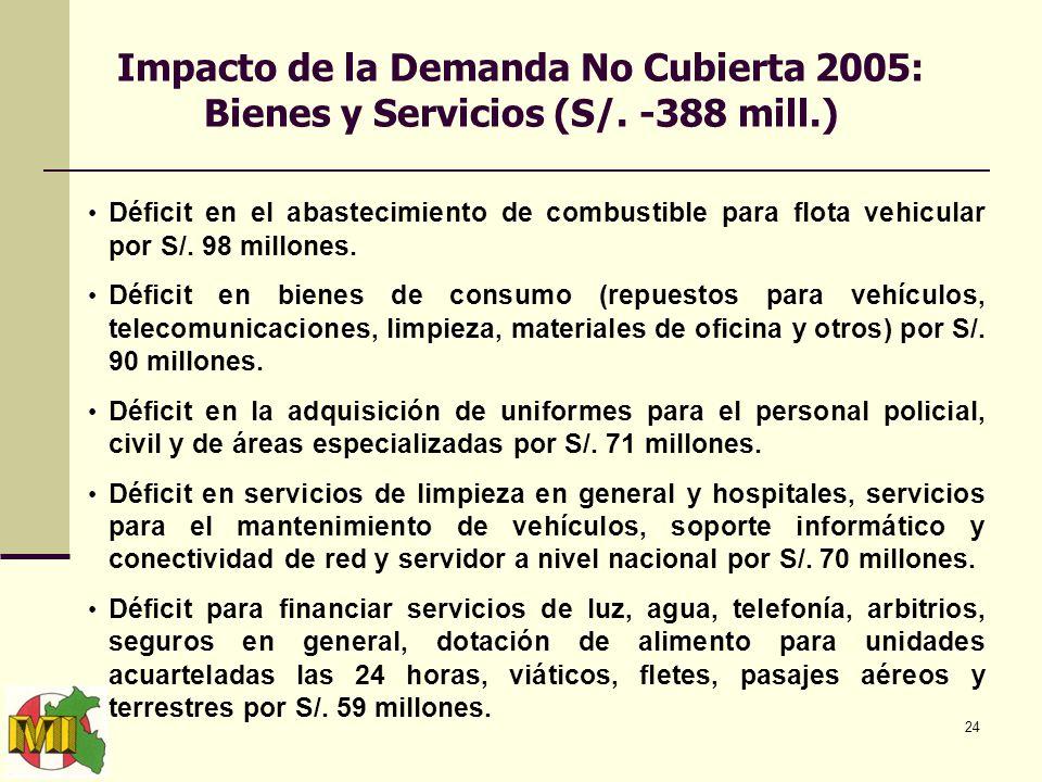 24 Impacto de la Demanda No Cubierta 2005: Bienes y Servicios (S/.