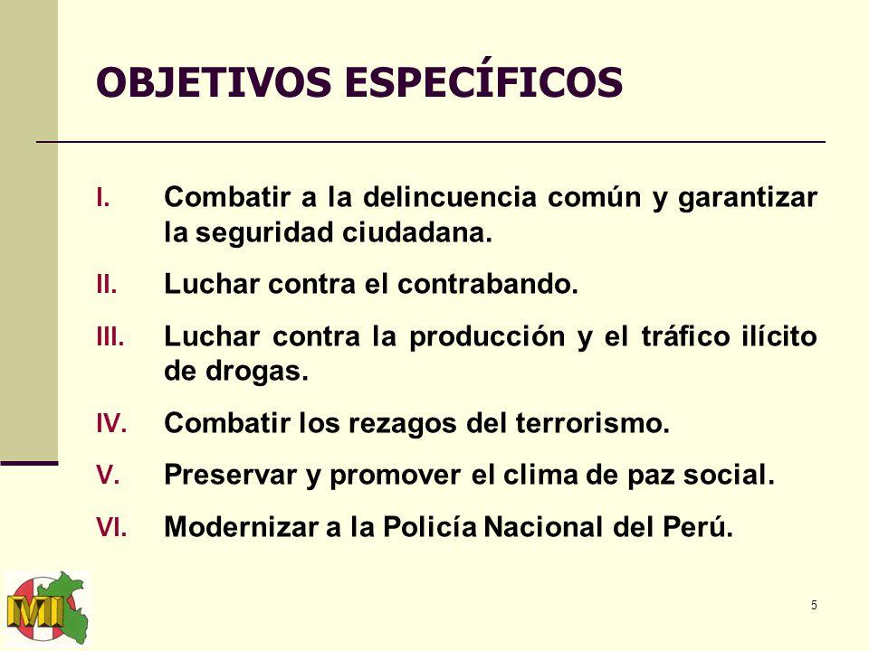 5 OBJETIVOS ESPECÍFICOS I. Combatir a la delincuencia común y garantizar la seguridad ciudadana.