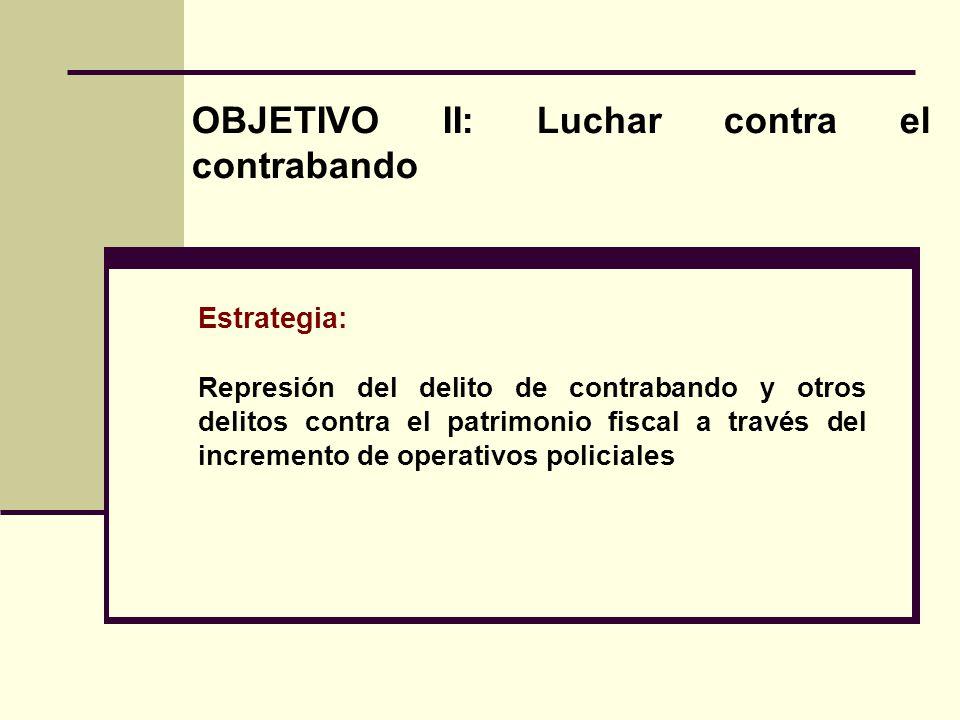 Estrategia: Represión del delito de contrabando y otros delitos contra el patrimonio fiscal a través del incremento de operativos policiales OBJETIVO II: Luchar contra el contrabando
