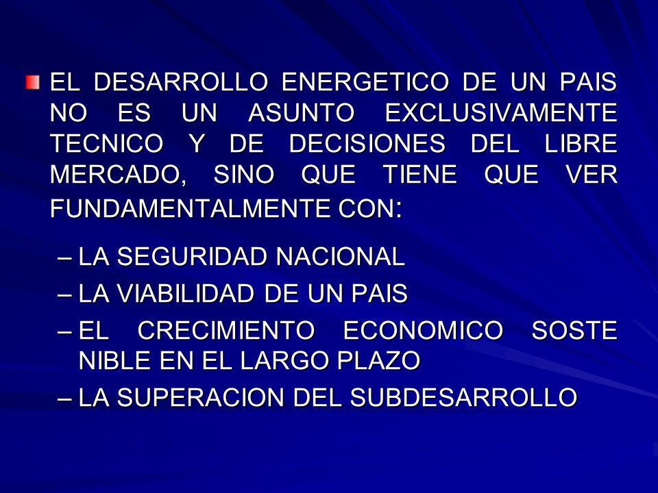 EL DESARROLLO ENERGETICO DE UN PAIS NO ES UN ASUNTO EXCLUSIVAMENTE TECNICO Y DE DECISIONES DEL LIBRE MERCADO, SINO QUE TIENE QUE VER FUNDAMENTALMENTE