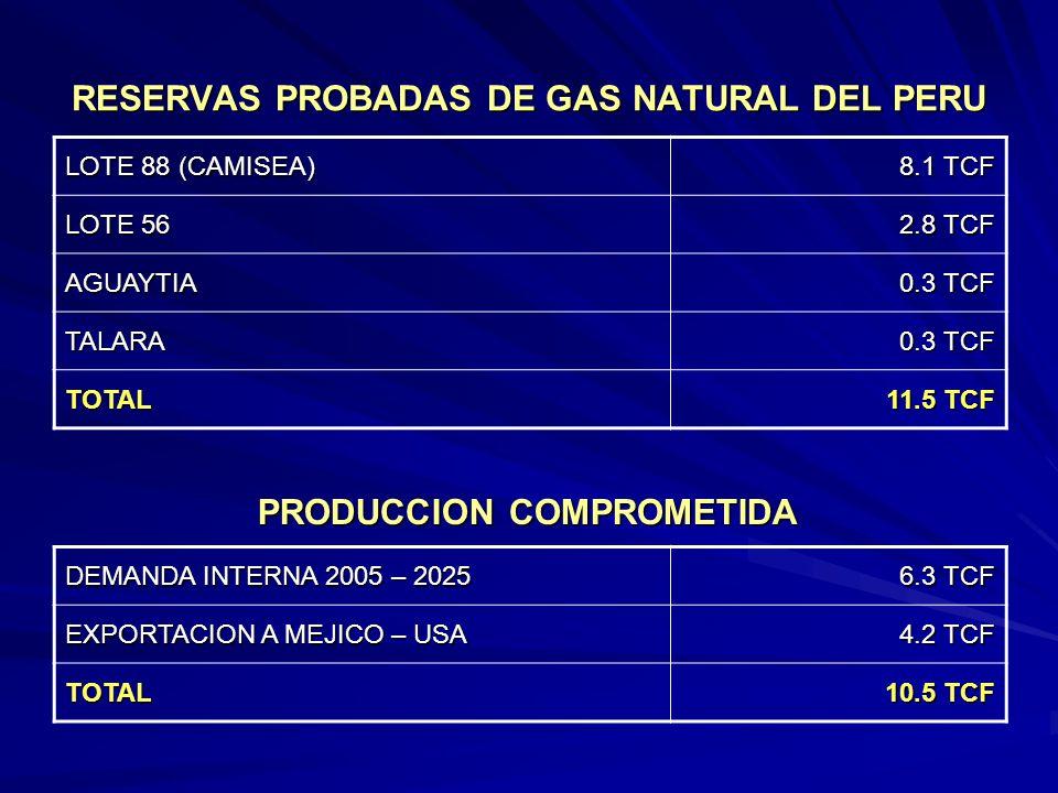 RESERVAS PROBADAS DE GAS NATURAL DEL PERU LOTE 88 (CAMISEA) 8.1 TCF LOTE 56 2.8 TCF AGUAYTIA 0.3 TCF TALARA TOTAL 11.5 TCF DEMANDA INTERNA 2005 – 2025