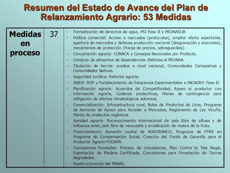 Medidas en proceso 37 Formalización de derechos de agua, PSI Fase II y PRONASUB. Política comercial: Acceso a mercados (protocolos), ampliar oferta ex