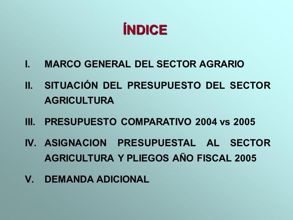 I.MARCO GENERAL DEL SECTOR AGRARIO II.SITUACIÓN DEL PRESUPUESTO DEL SECTOR AGRICULTURA III.PRESUPUESTO COMPARATIVO 2004 vs 2005 IV.ASIGNACION PRESUPUE