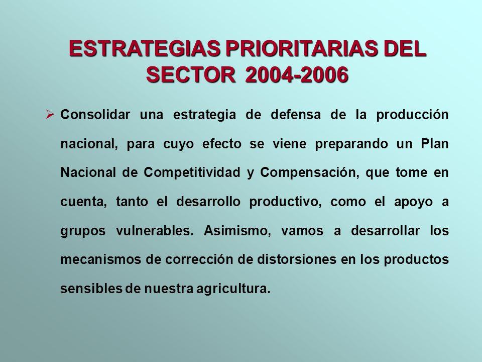 Consolidar una estrategia de defensa de la producción nacional, para cuyo efecto se viene preparando un Plan Nacional de Competitividad y Compensación