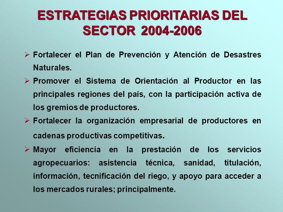 Fortalecer el Plan de Prevención y Atención de Desastres Naturales. Promover el Sistema de Orientación al Productor en las principales regiones del pa